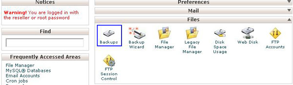 backup option in cPanel