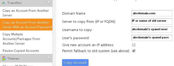 copy account from another server