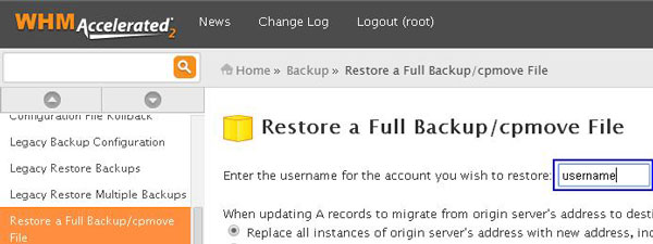 WHM restore backup cpmove file
