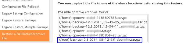 WHM restore backup